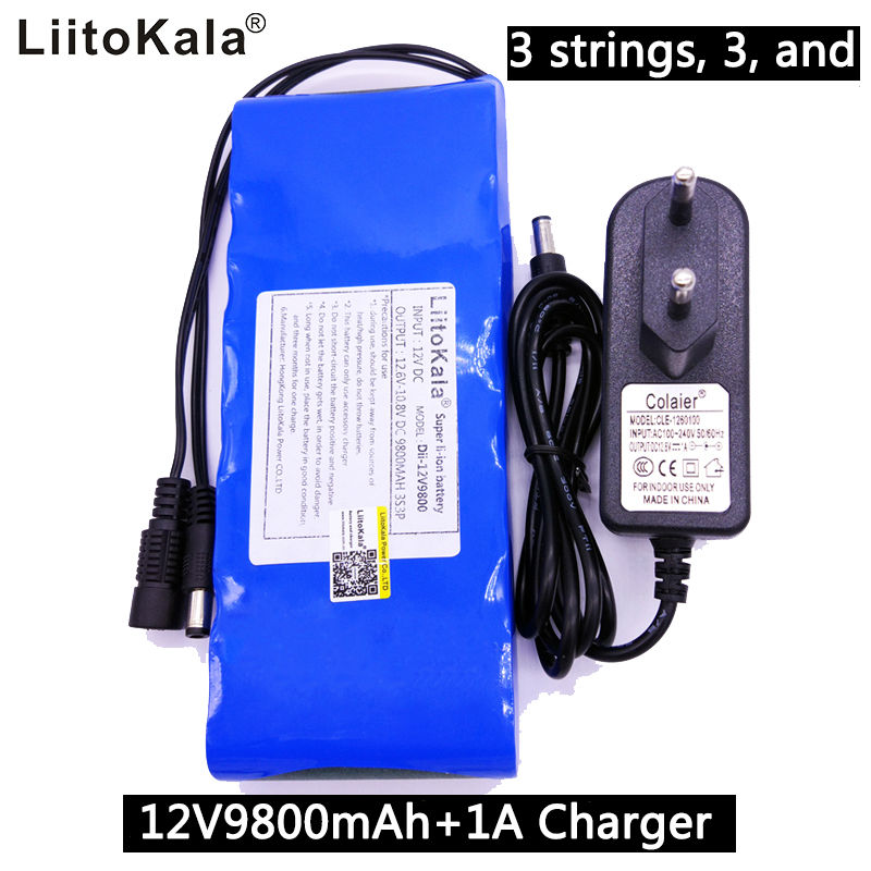 Liitokala 12V 9800mAh battery pack 18650 lithium-ion battery bms large capacity monitoring equipment power supply 1A charger