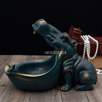 Abstract Hippopotamus Statue With Storage Funcion Resin Artware Sculpture Ornament For Desk Home Decor Decoration Accessories