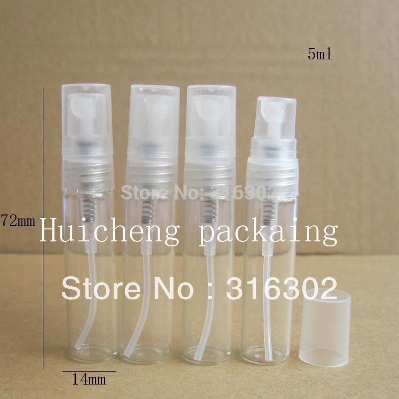 50 pçs/lote 5 ml vazio frasco de spray de vidro pequenos frascos de perfume atomizador de atomização spray Recipiente de Líquido