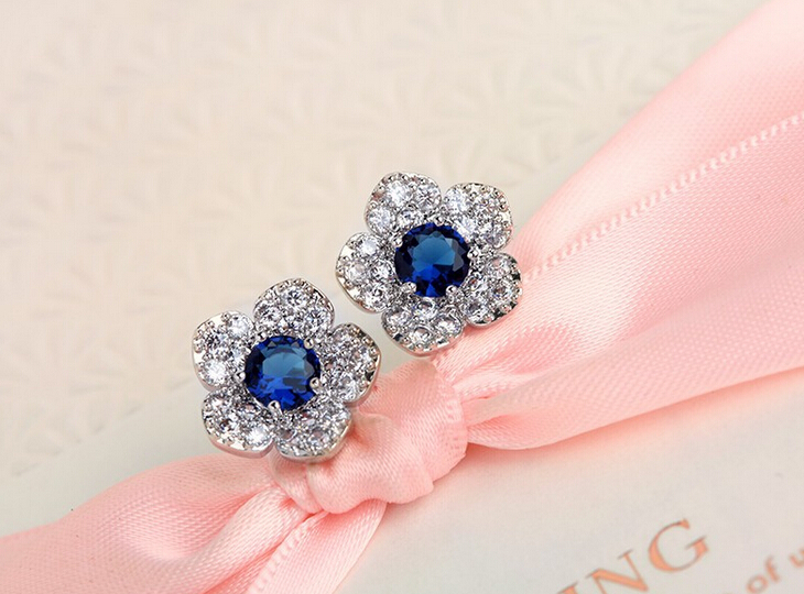 one pair fashion silver plated color flower shape alloy with crystal stone diy lady's stone stud earring xye127