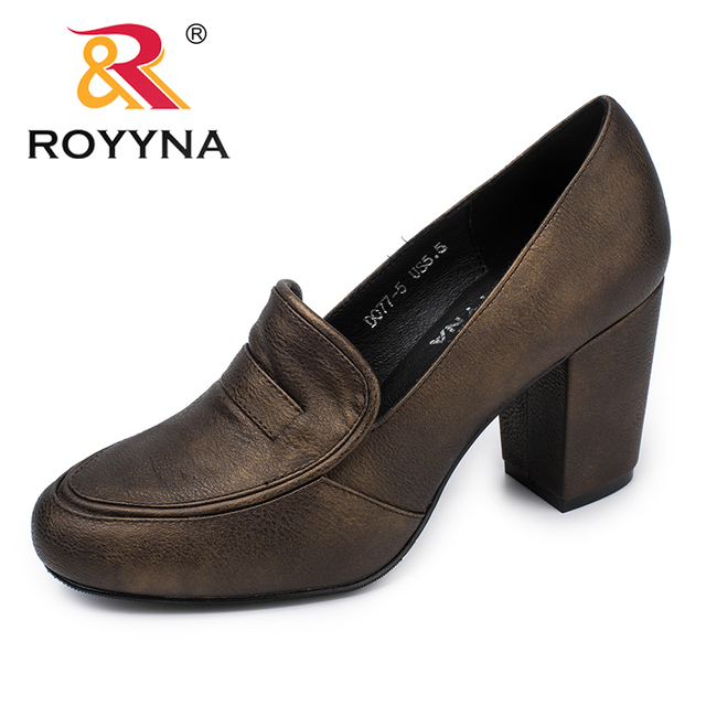 Royyna New Leisure Style Women Pumps Synthetic Dress Shoes Round Toe Office Square