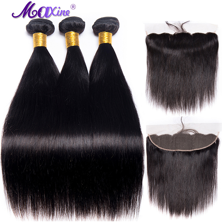 Straight Hair Bundles With Frontal 3 Bundles Peruvian Hair Pre Plucked Lace Frontal Closure With Bundles