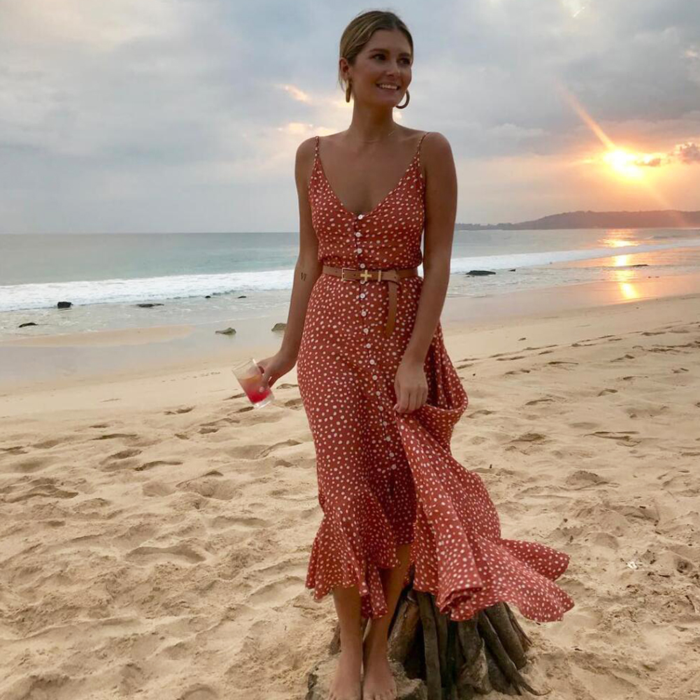 Meihuida 2019 Women's  Boho Maxi Dress Girls Summer Spaghetti Strap Sweet Dot Long Dress Ladies Beach Sundress Vestido De Mujer