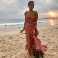 Meihuida el 2019 De las mujeres Boho Maxi vestido De verano De las niñas De la correa De espagueti dulce punto vestido largo damas sombrero De playa vestido De Mujer