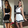 New Design Sexy Women Bandage Bodycon Dress Sleeveless Hollow Out Lace Party Evening Club wear  Short Mini Dress 6-14