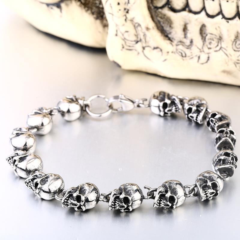 Personality Men Bracelet Stoving Varnish Fashion Jewelry Titanium Steel Skulls Punk Bracelets For Man BC8-005
