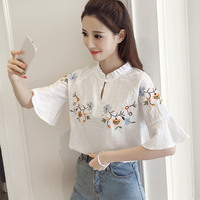 Summer Female Floral Embroidered Blouses Shirts Cotton Stand Collar Half Length Flare Sleeve Type Casual Women