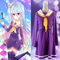 Cosplay Costume No Game No Life Shiro Emboitement Heroine Purple Sailor Suit (top+ skirt+ Bow tie+ shoulder tape+ oversleeve)