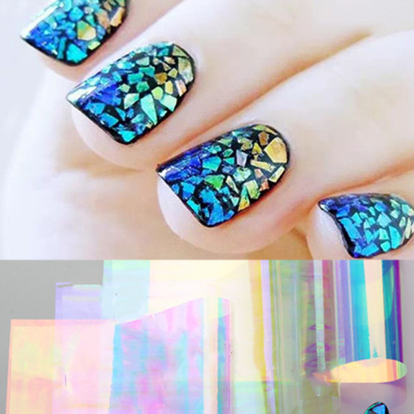 US $2 99 25% OFF|5pcs/set Shiny Laser Nail Foils Holographic Foils Nail Art  Transfer Sticker Paper Shattered Glass Nail Paper-in Stickers & Decals