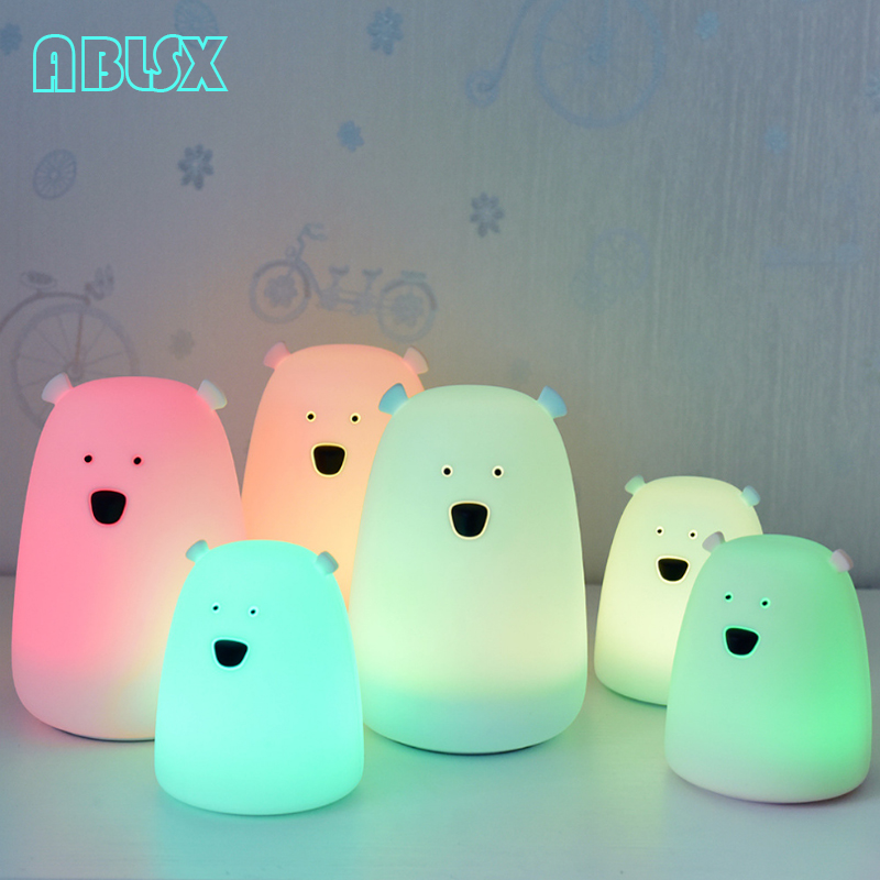 Animal Bedside Lamp Baby 3D Cartoon Small Big Bear Night Lights For Bedroom Lamps Battery Powered Christmas Xmas Nightlight Gift