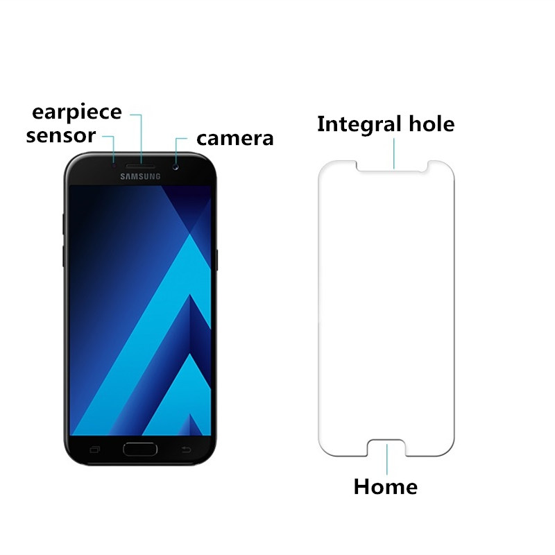 Tempered Glass For SAMSUNG Galaxy A7 2017 A720 A720F phone Screen protective cover 5 7 inch smartphone toughened case 9H on in Phone Screen Protectors from Cellphones Telecommunications