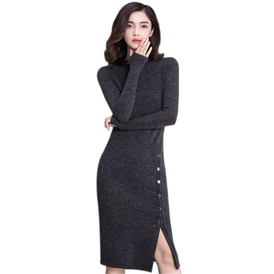 2018 Autumn Winter Dress Women Long Sleeve High Split Single Breasted Sexy Party Dresses Black Grey