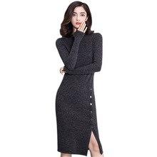 2018 осень-зима платье Для женщин с длинным рукавом высокая Разделение Однобортный пикантные Платья для вечеринок Черный Серый с длинным вязаное платье vestidos