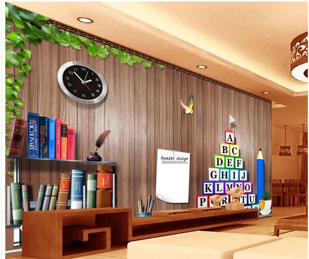 Realistic 3d illustration of modern wooden bookshelf against ston - Home Decoration Wallpaper For Walls Retro Wooden Bookshelf 3d Tv Backdrop Mural 3d Wallpaper