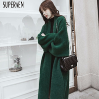 SuperAen Cardigan Sweater Coats Women 2018 Autumn and Winter New Korean Style Fashion Casual Ladies Sweater Loose Thick Sweater