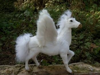 32x34x26cm white horse raise leg unicorn model,polyethylene&furs handicraft Figurines&Miniatures home decoration toy gift a2846