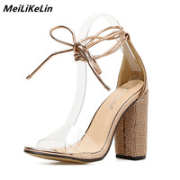 MeiLiKeLin Rhinestone Sandals Women Clear PVC Ankle Strappy High Heels Summer Shoes Block Square Heels Women