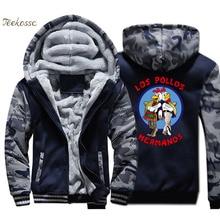 Breaking Bad Jacket Men LOS POLLOS Hermanos Hoodie Cartoon Sweatshirt Chicken Brothers Coat Winter Thick Fleece Streetwear Mens