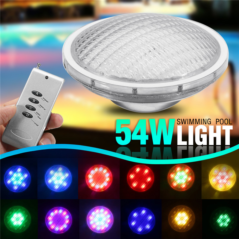 54W Underwater Lights RGB Led Stainless Steel Swimming Pool Lights Romete Control Colorful Underwater Lighting Pond Lamps underwater lights rgb led swimming pool light 24v ip68 waterproof 27w 316 stainless steel colorful changeable fountain lamp