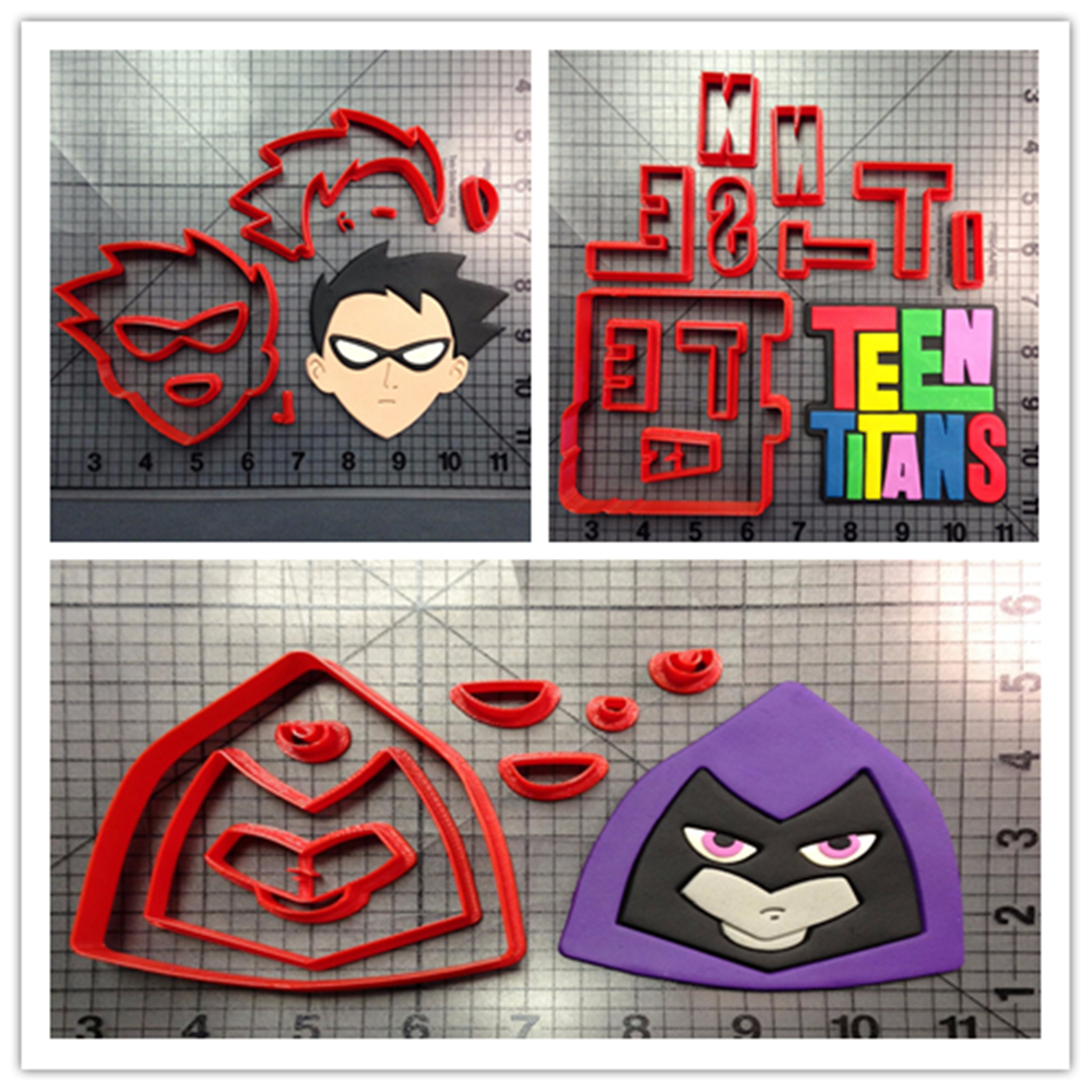 Cartoon TV Teen Titans Logo Character Biscuit Cookie Tools Made 3D Printed Cookie Cutter Set Baking Mold Cake Decorating Tools