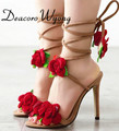 Free shipping women's fashion Rose Flower cross Lace-up Sandal pumps, female sweet flowers Lace-up 11cm sandals  wedding heels