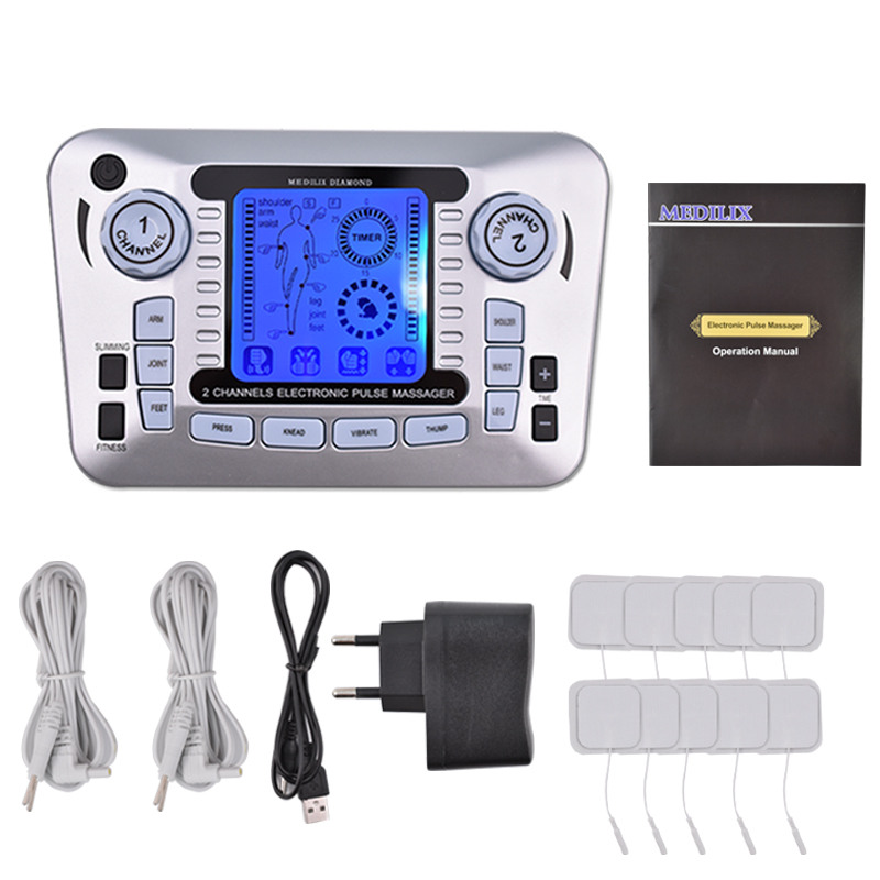 лучшая цена Health Care Pulse Massager Ems Electrical Muscle Stimulator Tens Acupuncture Low Frequency Physiotherapy Machine Fat Burner