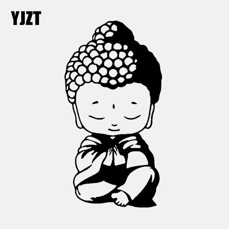 YJZT 9,4 см * 17,8 см Будды буддийская религиозная религиозные виниловые наклейки на автомобиль черный/серебристый C3-1555