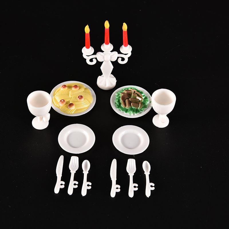 13 Teile/satz Puppenhaus Küche Spielzeug Für Nette Kerze Licht Abendessen Für Puppe Geschirr Spielzeug Kawaii Geschenke Für Halloween Weihnachten SpäTester Style-Online-Verkauf Von 2019 50%