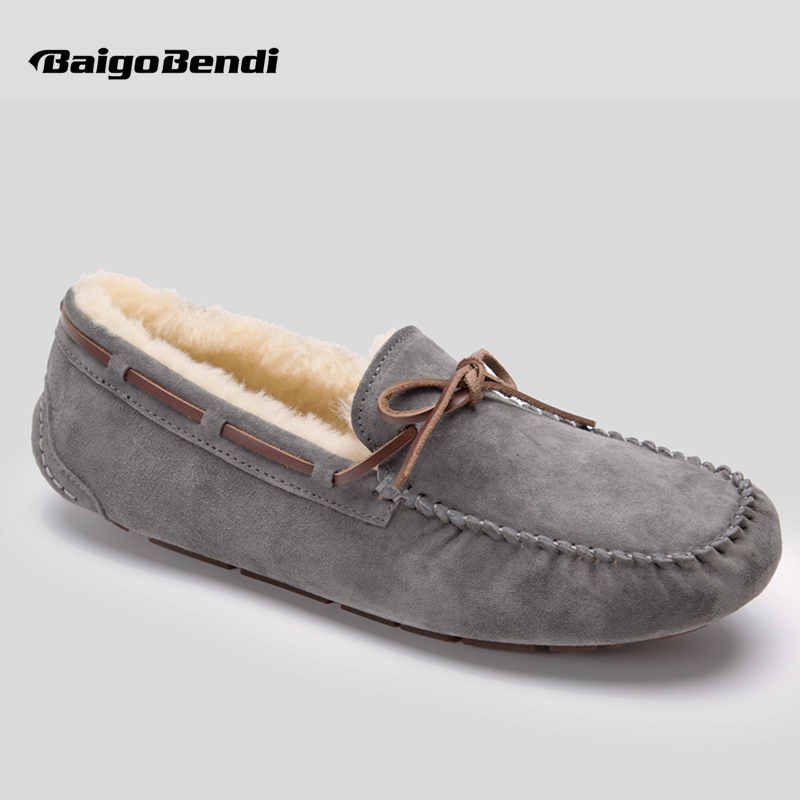Men Cow Suede Leather Bowknot Super Warm Plush Loafers Casual Shearling Driving Car Shoes Winter Cotton Shoes 6 Colors new arrival high genuine leather comfortable casual shoes men cow suede loafers shoes soft breathable autumn and winter warm fur