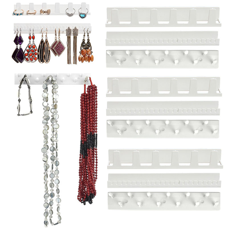 9pcs/set Jewelry Display Hanging Earring Necklace Ring Hanger Holder Rack Sticky Hooks Stick On Wall