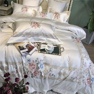 Image 5 - 800TCอียิปต์ผ้าฝ้ายเย็บปักถักร้อยสีขาวชุดเครื่องนอนชุดQueen King Sizeผ้าคลุมเตียงแผ่นชุดParure De lit