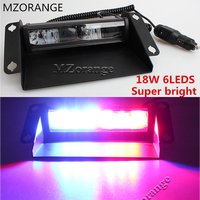 MZORANGE 6 LED Car Police Strobe Flash Light Dash Emergency Flashing Light Warning Lamp White changeable Red/Blue/Yellow Amber