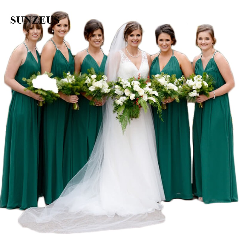 Dark Green A-Line Chiffon   Bridesmaid     Dresses   Halter V Front Maid of Honor   Dresses   Pleats Wedding Party Prom   Dresses   SBD69