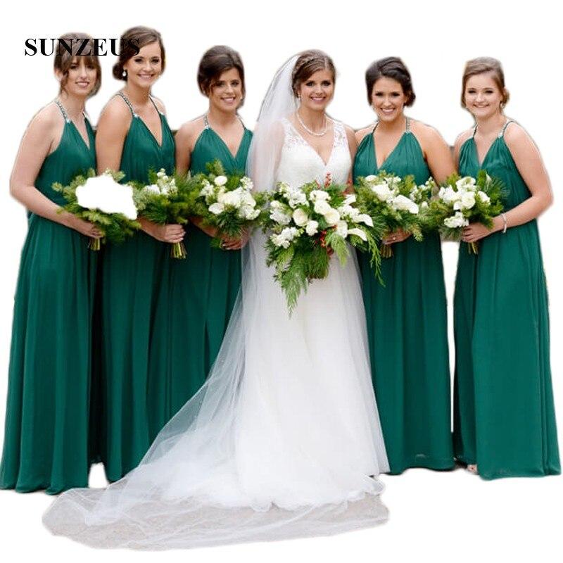 Dark Green A Line Chiffon Bridesmaid Dresses Halter V Front Maid of Honor Dresses Pleats Wedding Party Prom Dresses SBD69