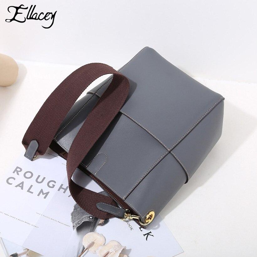 купить Ellacey Genuine Leather Composite Bags for Women 2018 Bucket Luxury Handbags Women Bag Designer Fashion Shoulder Bag Female онлайн