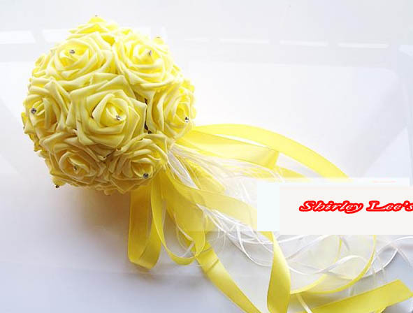 New!!! 8 X Lovely Foam roses w/diamante Bridesmaid flower bouquet Bridal Wedding Decoration *FREE SHIPPING VIA EMS*