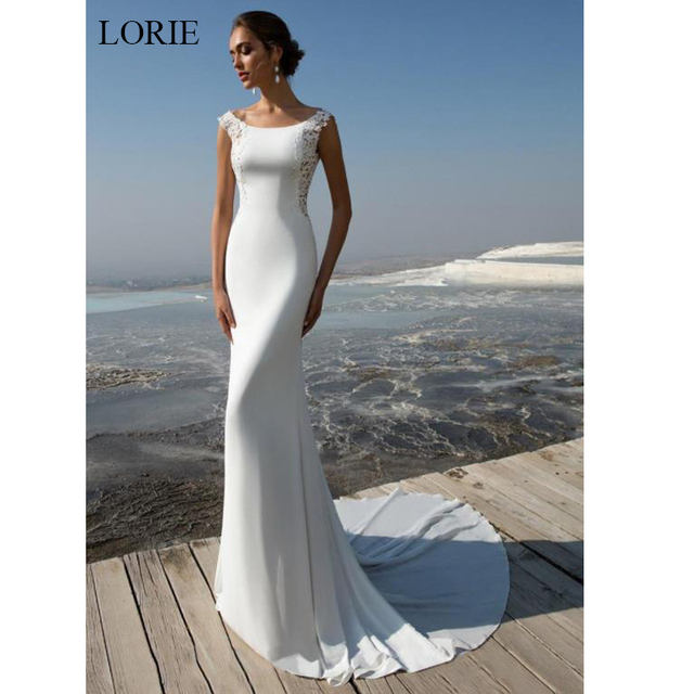 LORIE Mermaid Wedding Dress 2019 soft stain and lace Appliques Bride dress Summer sleeveless wedding dress, Wedding Party Dress 1