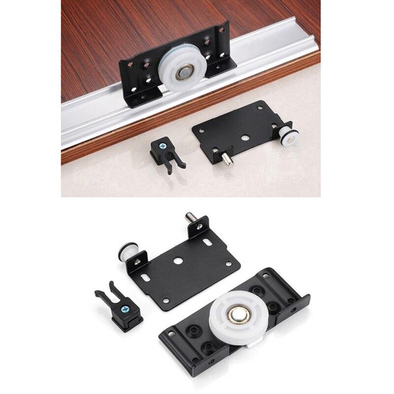 2 set/lote ropero negro puerta corredera accesorios ruedas de polea