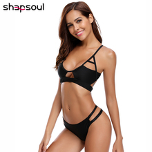 Thong Sexy Bikini Set Tankini 2019 Woman Low Waist String Swimwear Women Sport Swim Suit Solid Black White Wear