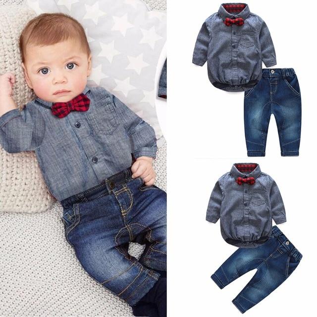0e892c5c4366 Baby Boy Clothes Set Plaid Rompers With Bowtie+Denim Pants Fashion Newborn  Baby Boy Gentleman Suit Infant Clothing Outfits