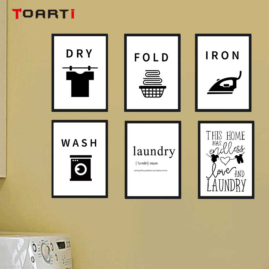 Laundry room funny tips home decor modern canvas painting poster and prints fold iron wash dry wall art murals modular picture