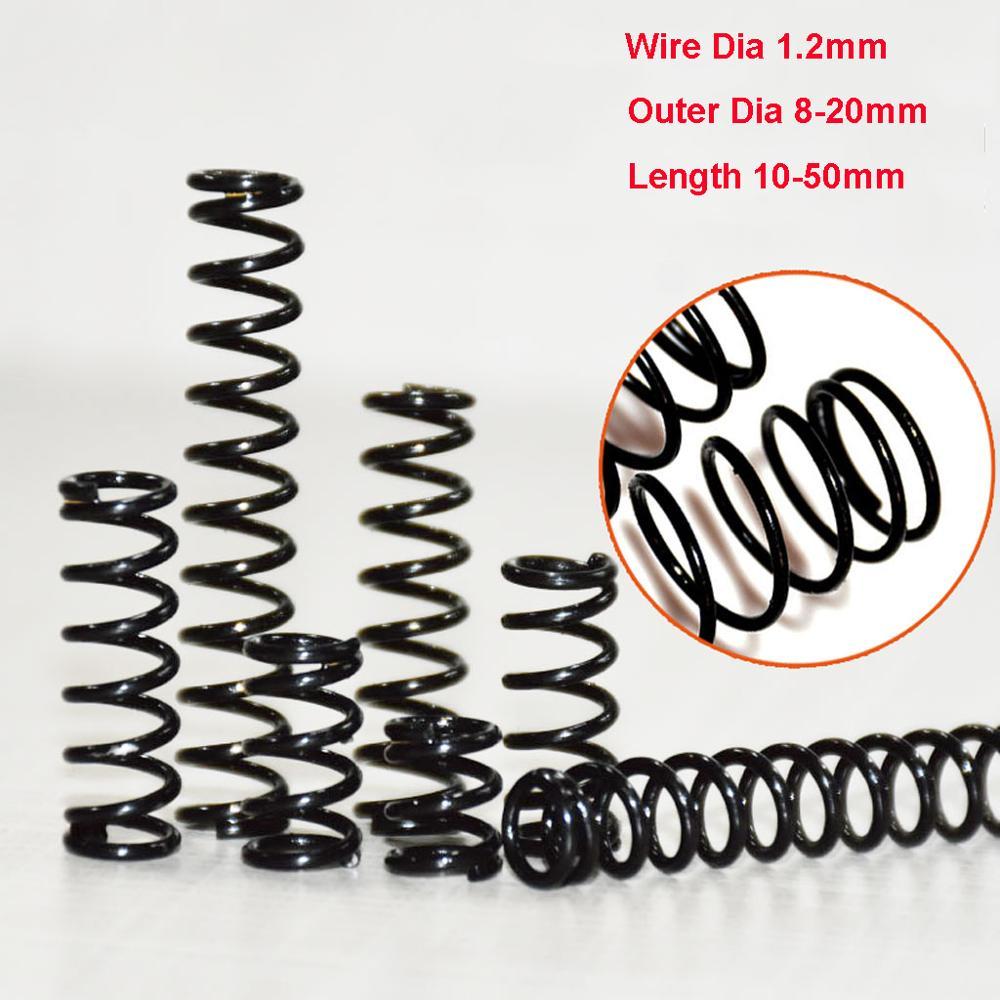 Diâmetro exterior 1.2mm do fio da mola de pressão do aço do manganês da mola do escurecimento elástico alto dos pces 20mm comprimento 10-50mm