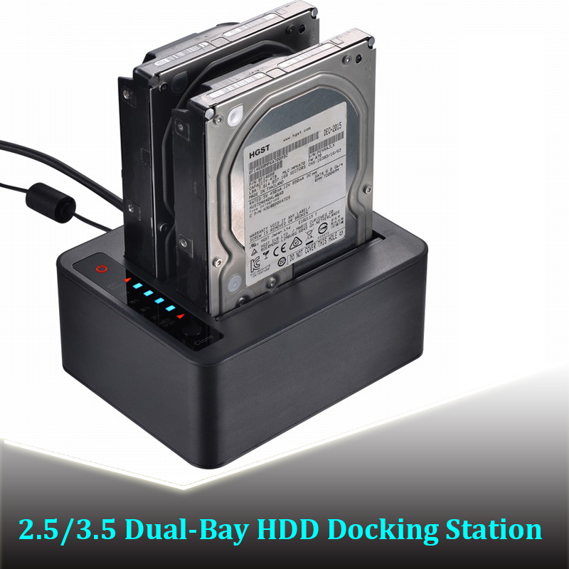 2 5 3 5inch Dual SATA HDD docking station 6Gbps USB 3 0 external with Offline