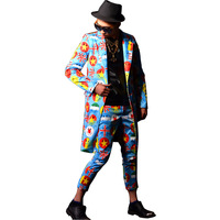 Custom Made Male Long Suit Fashion Casual Slim Fit Blazers Jacket Smile Face Printing Men Blue Suit Coat Stage Show Costumes