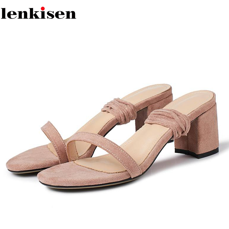 Lenkisen 2018 new Pu flock open toe ankle lace up casual high fashion summer high heels daily wear street show women sandals L11