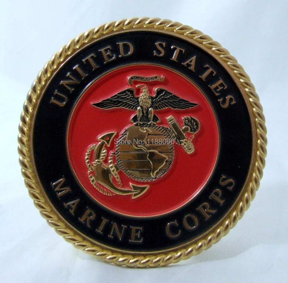 Wholesale and retail Top Quality United States US Marine Corps Metal Enamel Medallion Coin DESKTOP cheap custom military coins