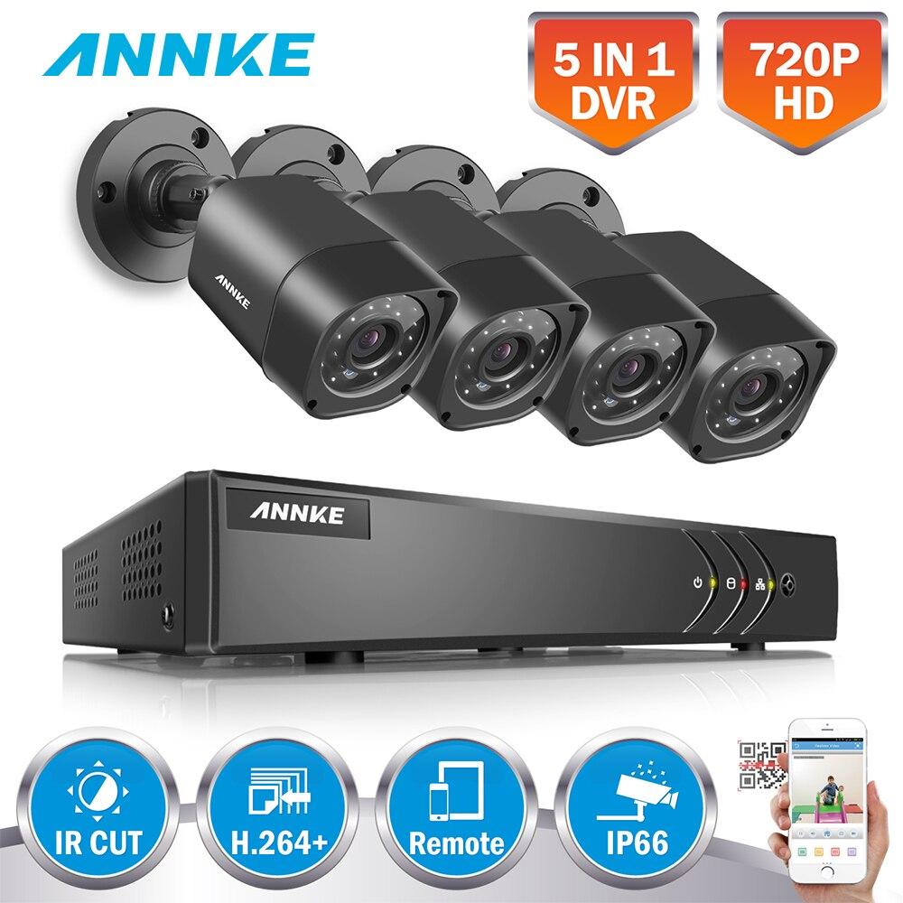 ANNKE 4CH 720P 5in1 Security DVR System HDMI 1280*720 1500TVL 1MP TVI Weatherproof Outdoor Bullet CCTV Camera Surveillance Kit