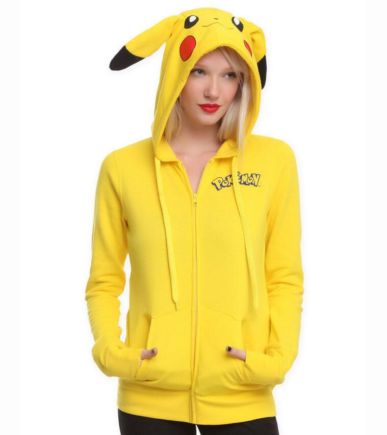 Nice Pokemon GO COSPLAY Costumes Jacket Ears Face Pikachu Anime Cartoon Women Hoodies Coat