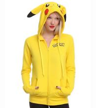 Nice Pokemon GO COSPLAY Costumes Jacket Ears Face Pikachu Anime Cartoon Women Hoodies Coat