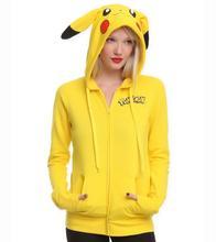 Es bueno IR Chaqueta Trajes de COSPLAY Orejas Cara Pikachu Pokemon Anime de Dibujos Animados Mujeres Camiseta Escudo